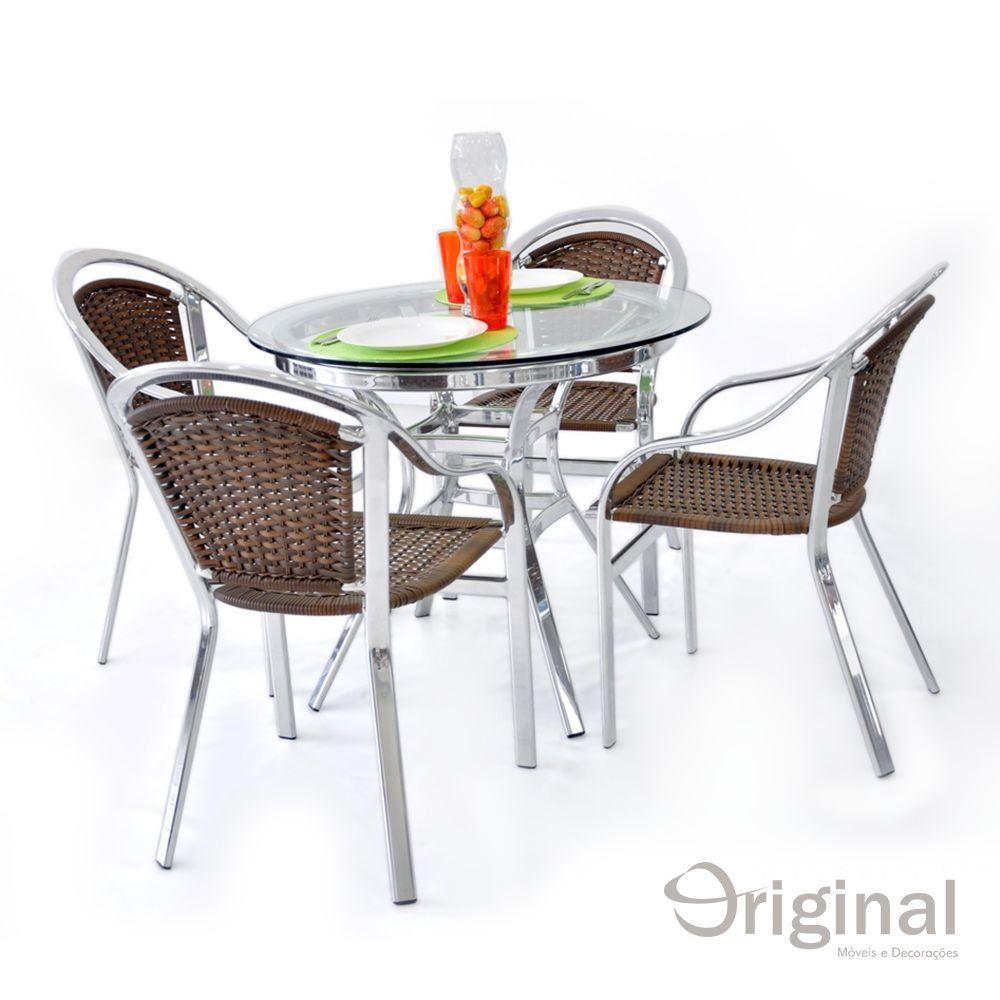 Conjunto de Mesa 4 Cadeiras Bolívia Alumínio Original Móveis