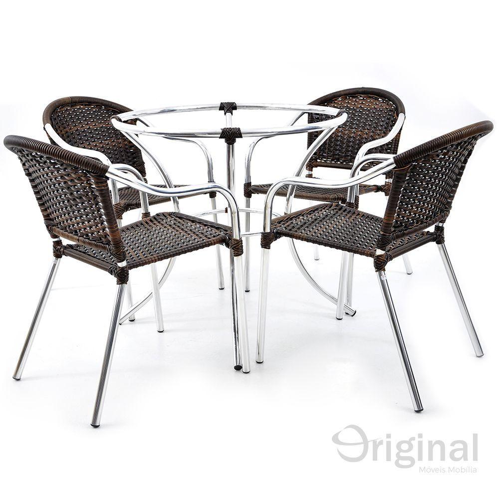 Conjunto de Mesa 4 Cadeiras Chile Alumínio Original Móveis
