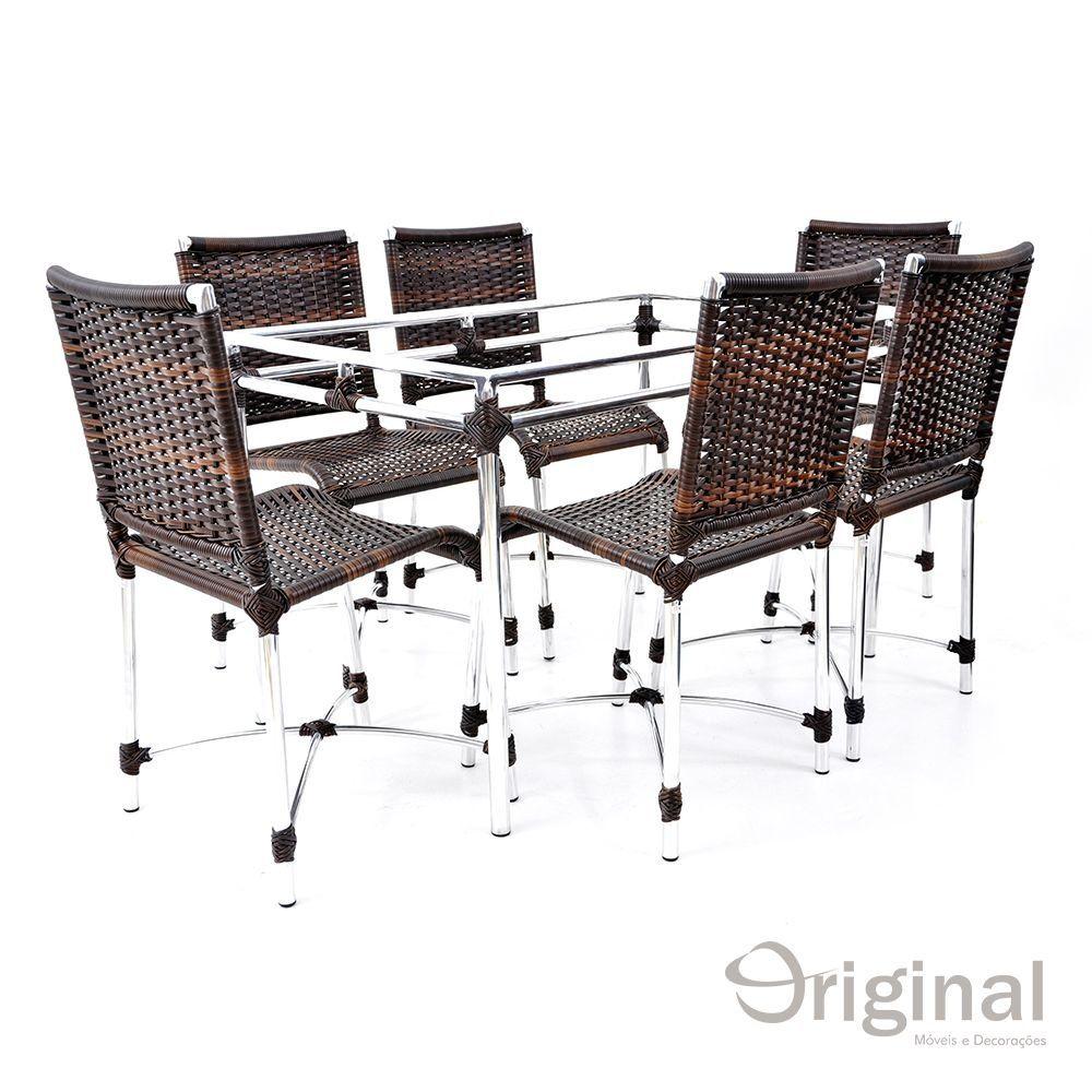Conjunto de Mesa 6 Cadeiras Cuba Alumínio Original Móveis
