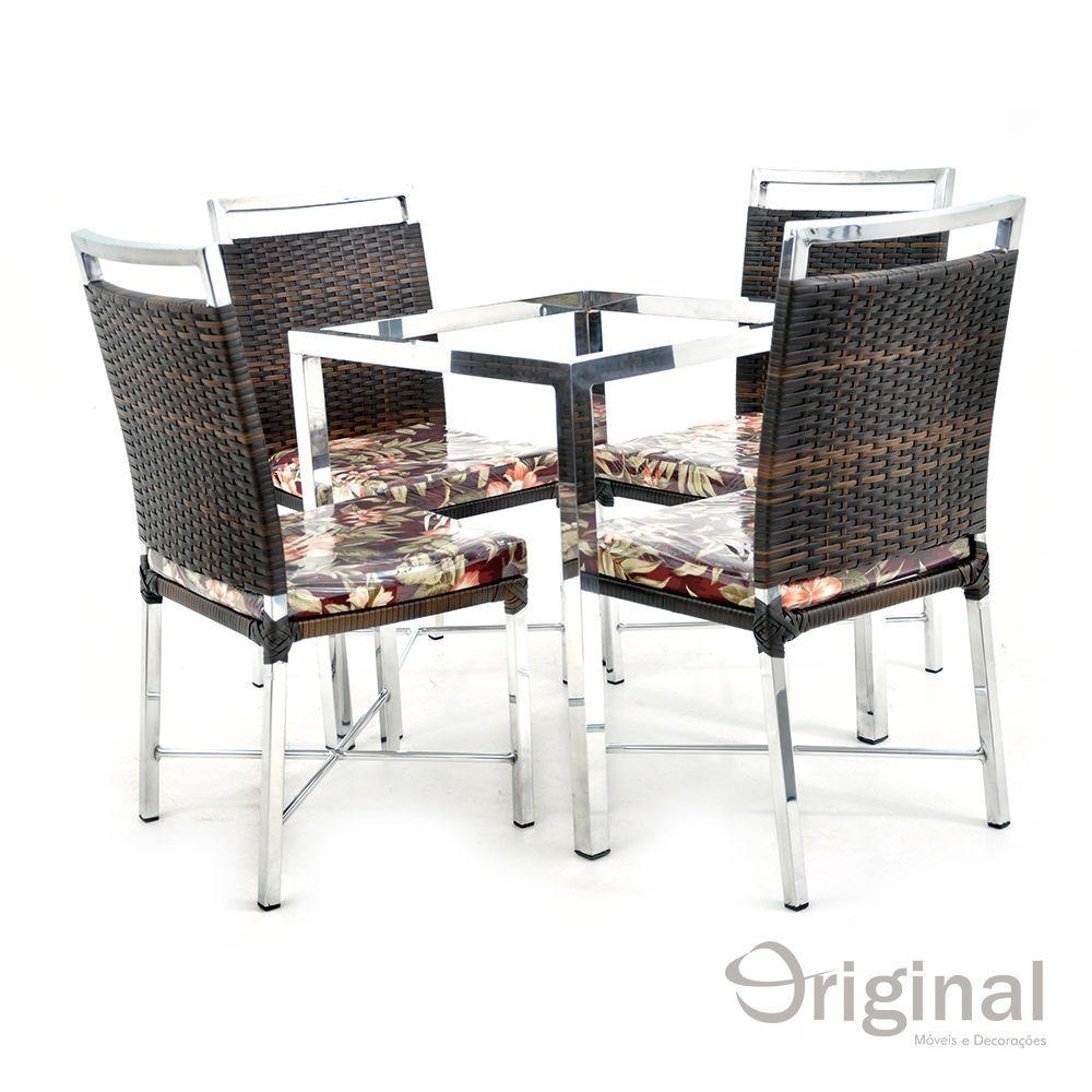 Conjunto de Mesa 4 Cadeiras Etiópia Alumínio Original Móveis