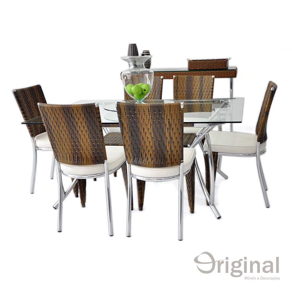 Conjunto de Mesa 6 Cadeiras Guatemala Alumínio Original Móveis