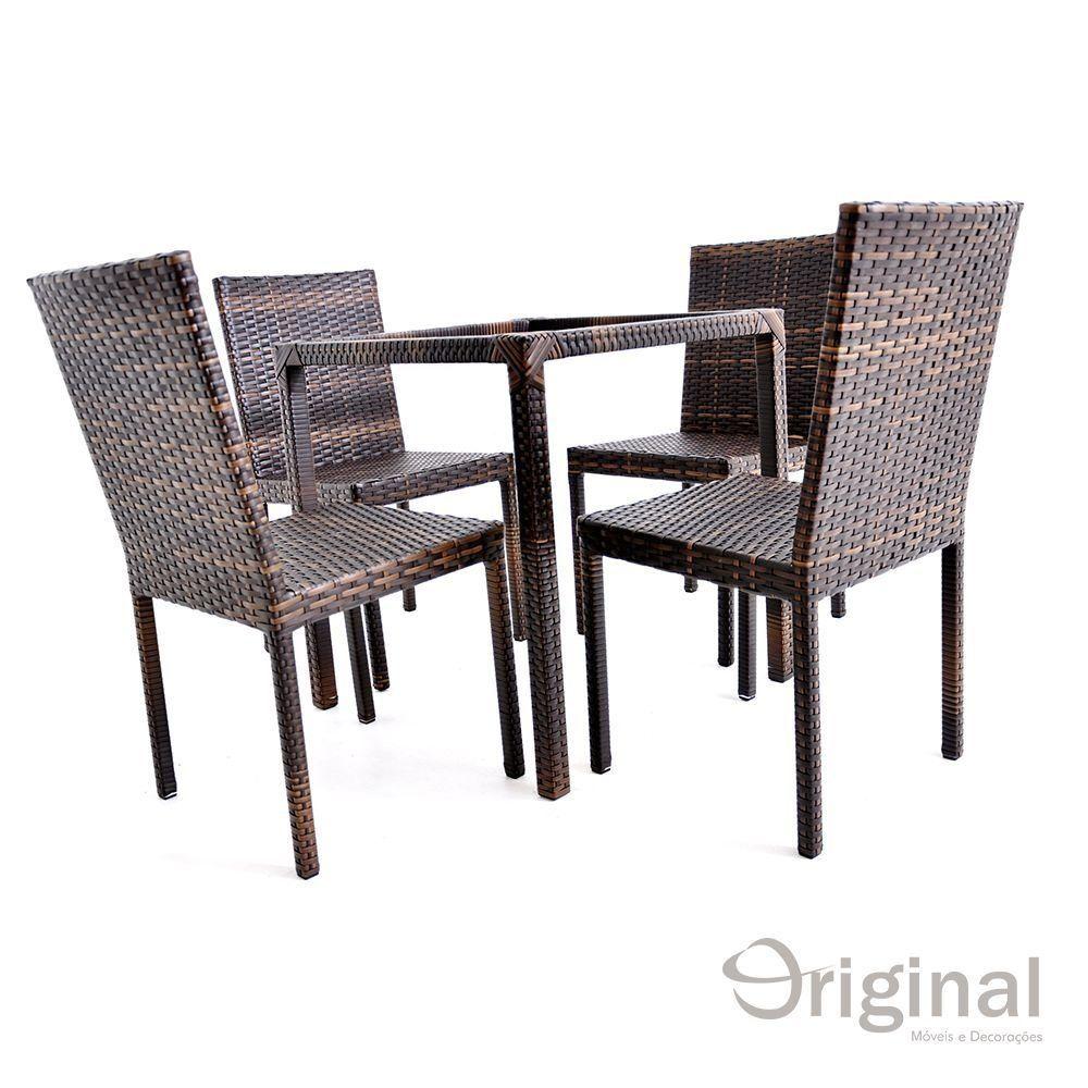Conjunto de Mesa 4 Cadeiras Mianmar Alumínio Original Móveis