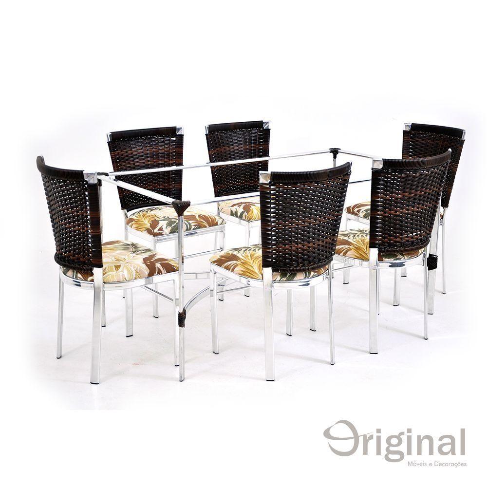 Conjunto de Mesa 6 Cadeiras Moçambique Alumínio Original Móveis