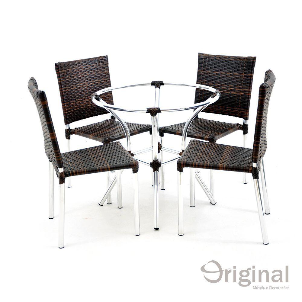 Conjunto de Mesa 4 Cadeiras de Alumínio Portugal Original Móveis
