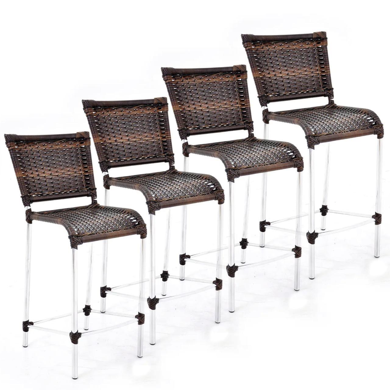 KIT 4 BANQUETAS JAMAICA - cadeira alta - alumínio + fibra junco sintético