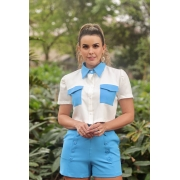 CAMISA CROPPED BICOLOR