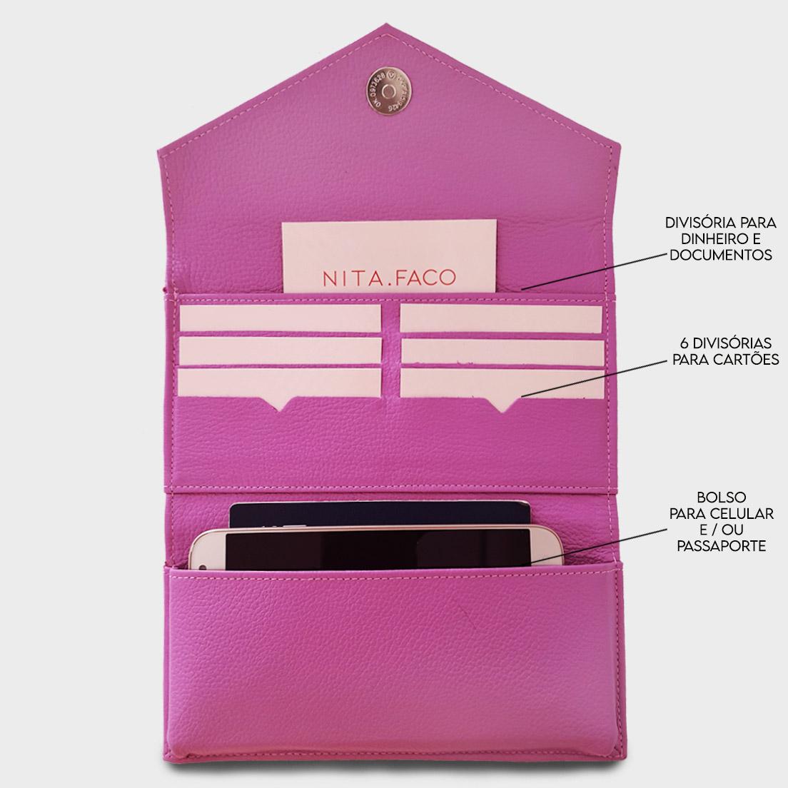 Carteira de Couro Abbraccio Pink