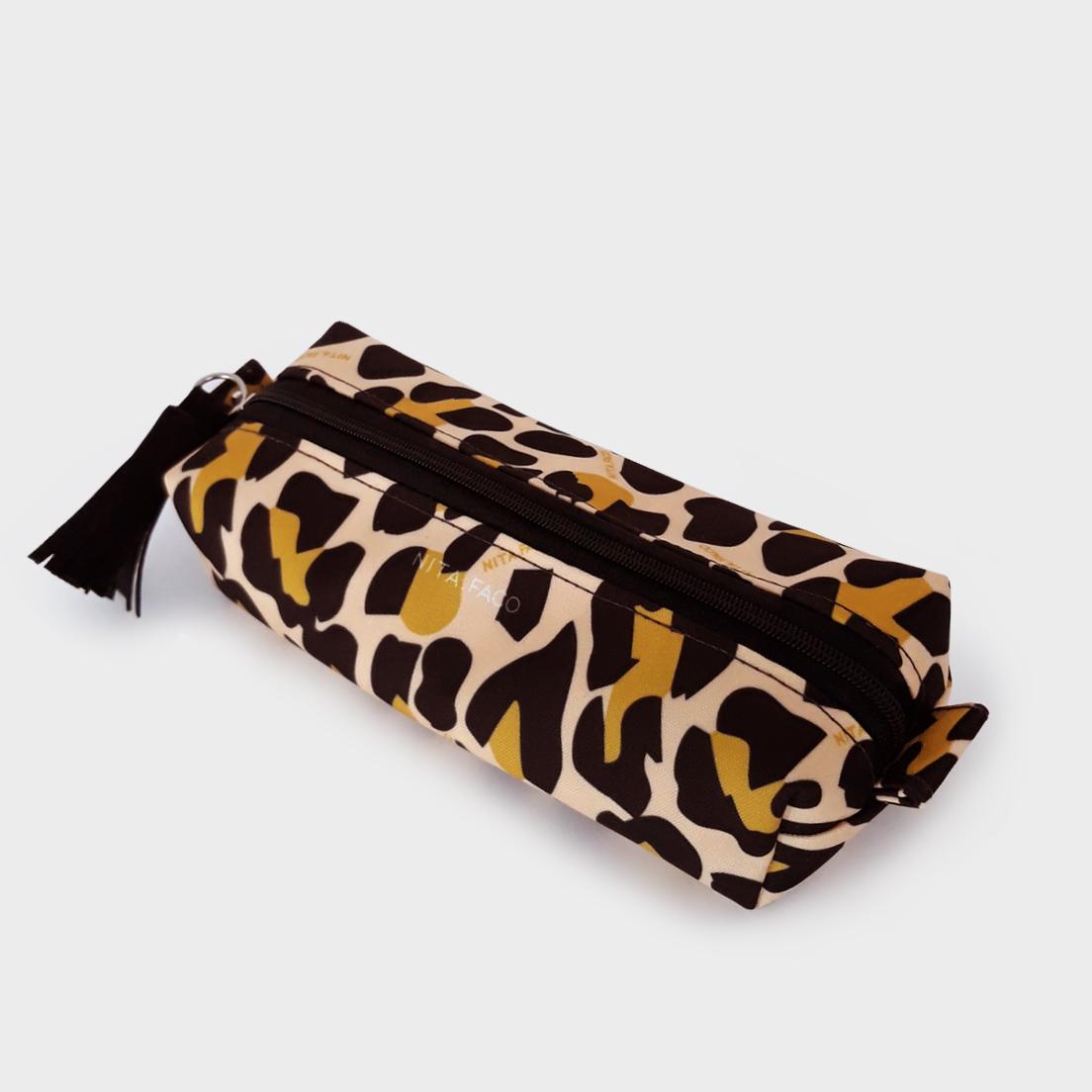 Kit Nécessaire Flat e Estojo Leopardo Amarelo