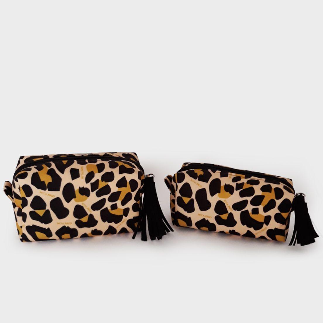 Kit Nécessaires Letta Leopardo Amarelo