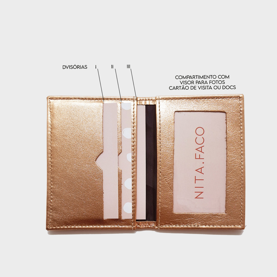 Porta Cartão de Couro Salerno Rose Gold