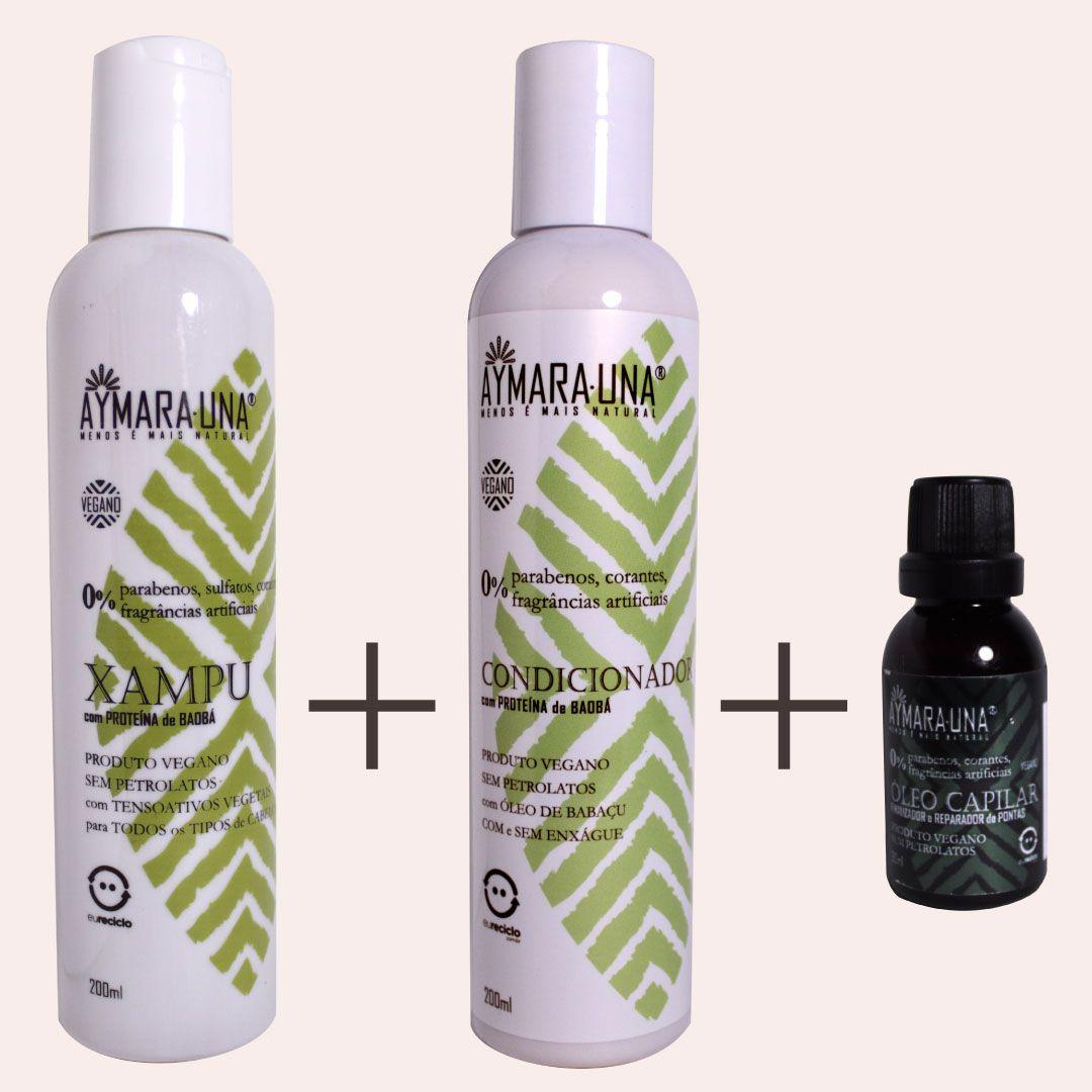Kit Cabelos - 1 Shampoo + 1 Condicionador + Óleo Capilar