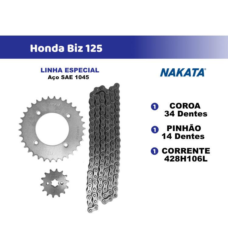 Kit Relação Transmissão Nakata  Biz 125 06/14 Aço 1045