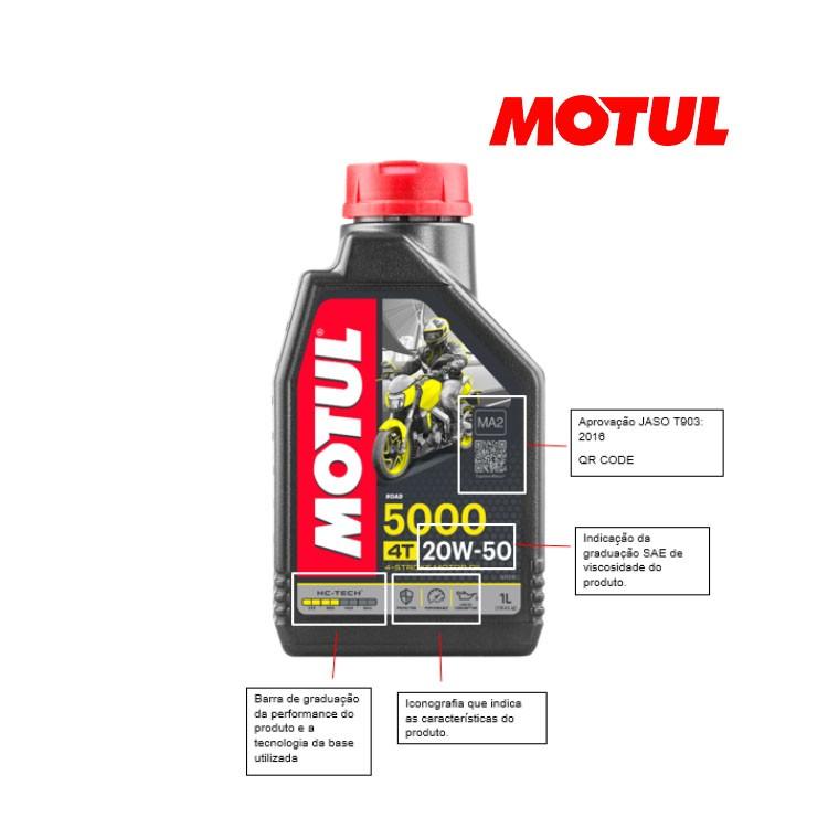 Kit Troca De Óleo Motul 5000 4T 20w50 Fazer 250 Com Filtro Vedamotors