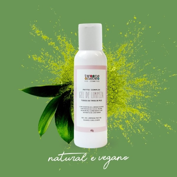 414 - Gel de Limpeza Facial Natural Vegano  Sulfate Free Chá Verde Twoone Onetwo 60g