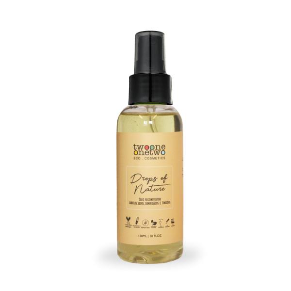 444 - Óleo reconstrutor para cabelos secos, danificados e tingidos Drops Of Nature Natural Vegano Twoone Onetwo 120ml