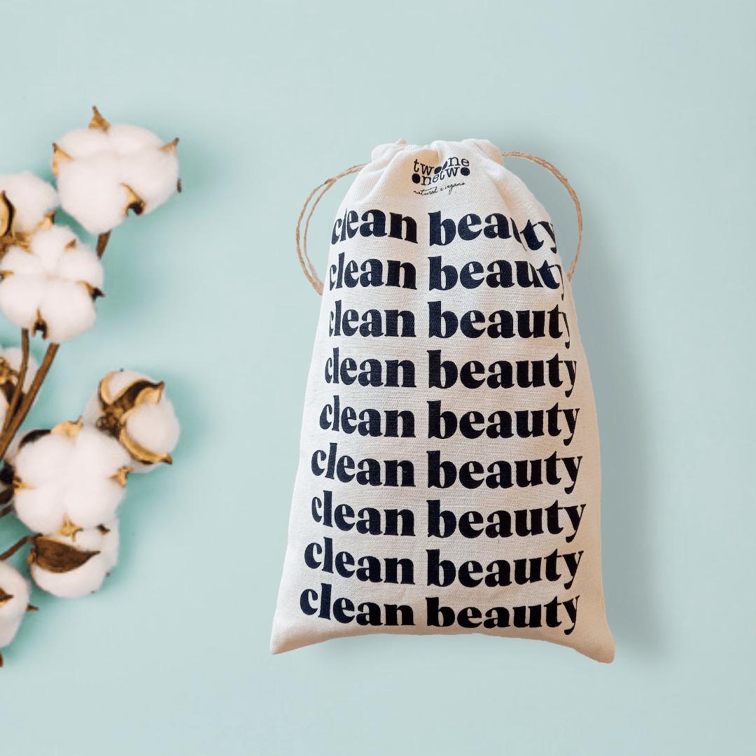 EcoBag Clean Beauty de algodão para presente com cordinha 20x25 Twoone Onetwo Natural Vegana