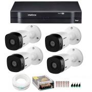 Kit CFTV intelbras HD com 4 câmeras + DVR Intelbras MHDX 1104 de 4 canais + acessórios