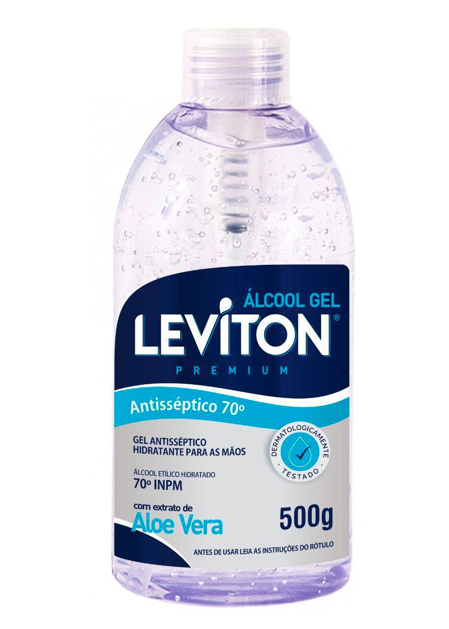 KIT 10UN ALCOOL EM GEL 70% LEVITON - 500G