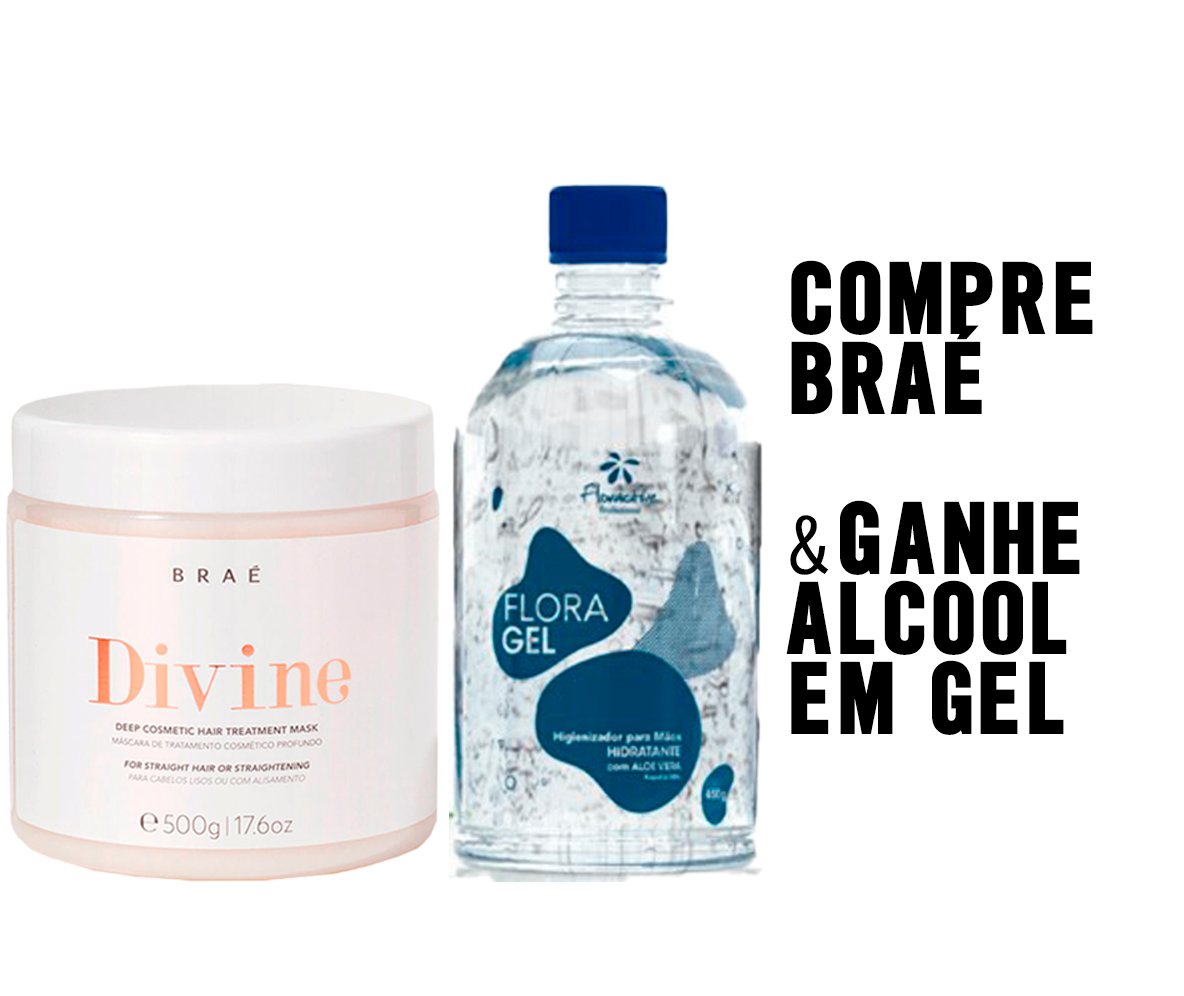 KIT BRAÉ DIVINE MASCARA 500G + GANHE ALCOOL EM GEL 500ML