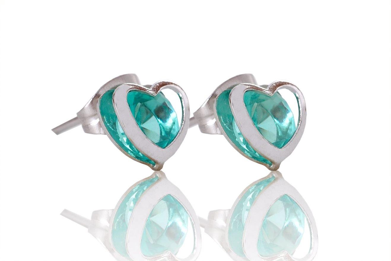 Brinco Coração Em Aço Inox Com Zircônia Esmeralda .