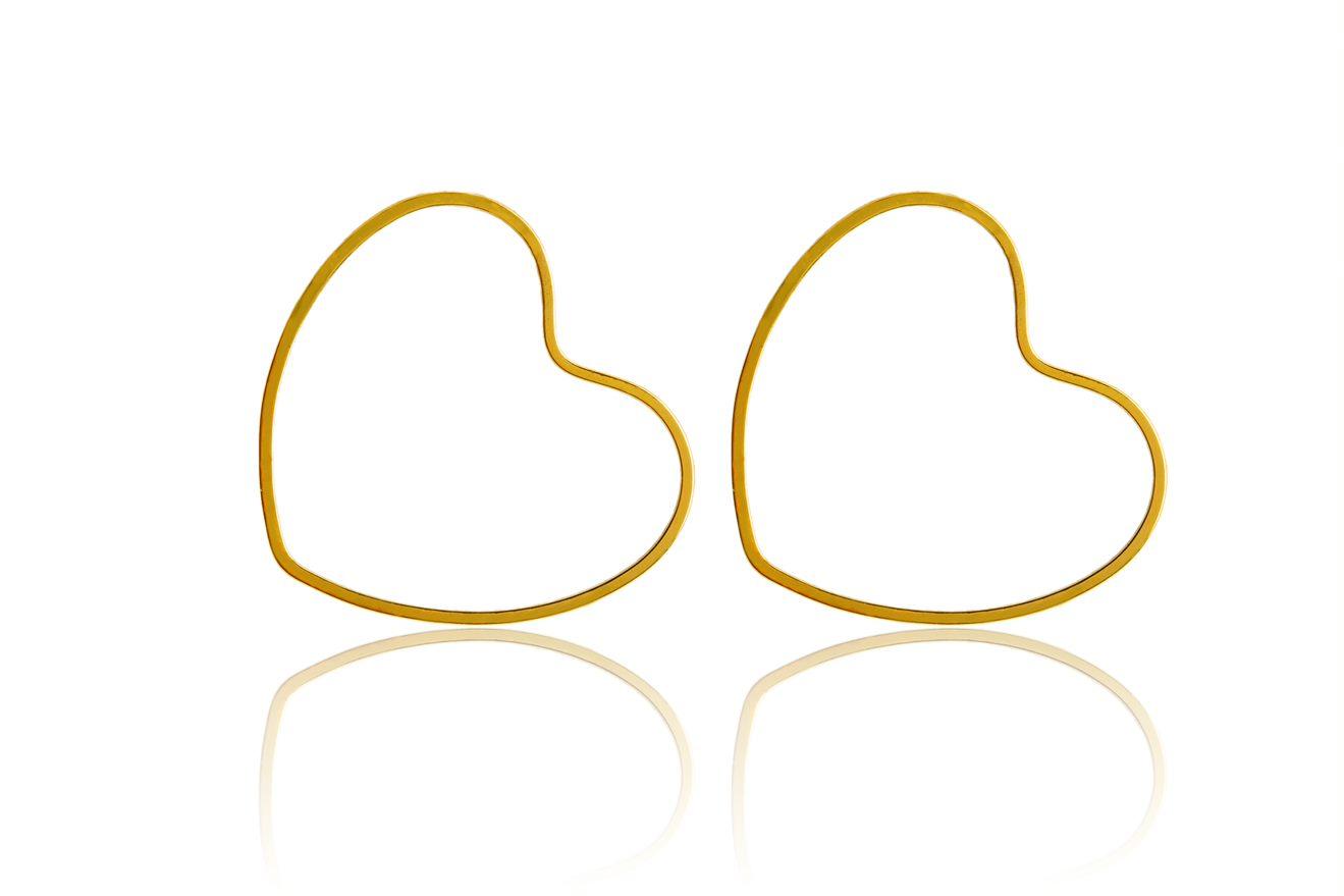 Brinco Coração Vazado Liso