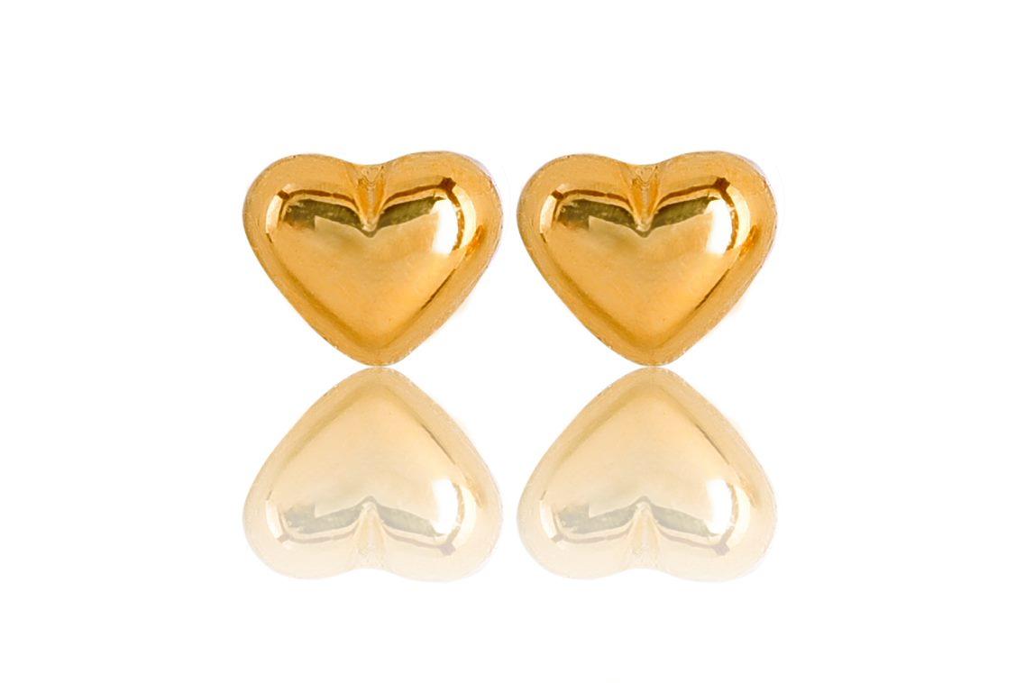 Brinco de Coração Liso M Banhado Ouro 18K.