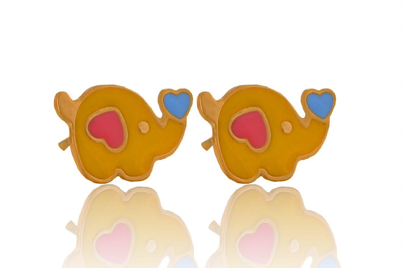 Brinco Infantil Elefantinho Esmaltado Banhado a Ouro 18K.