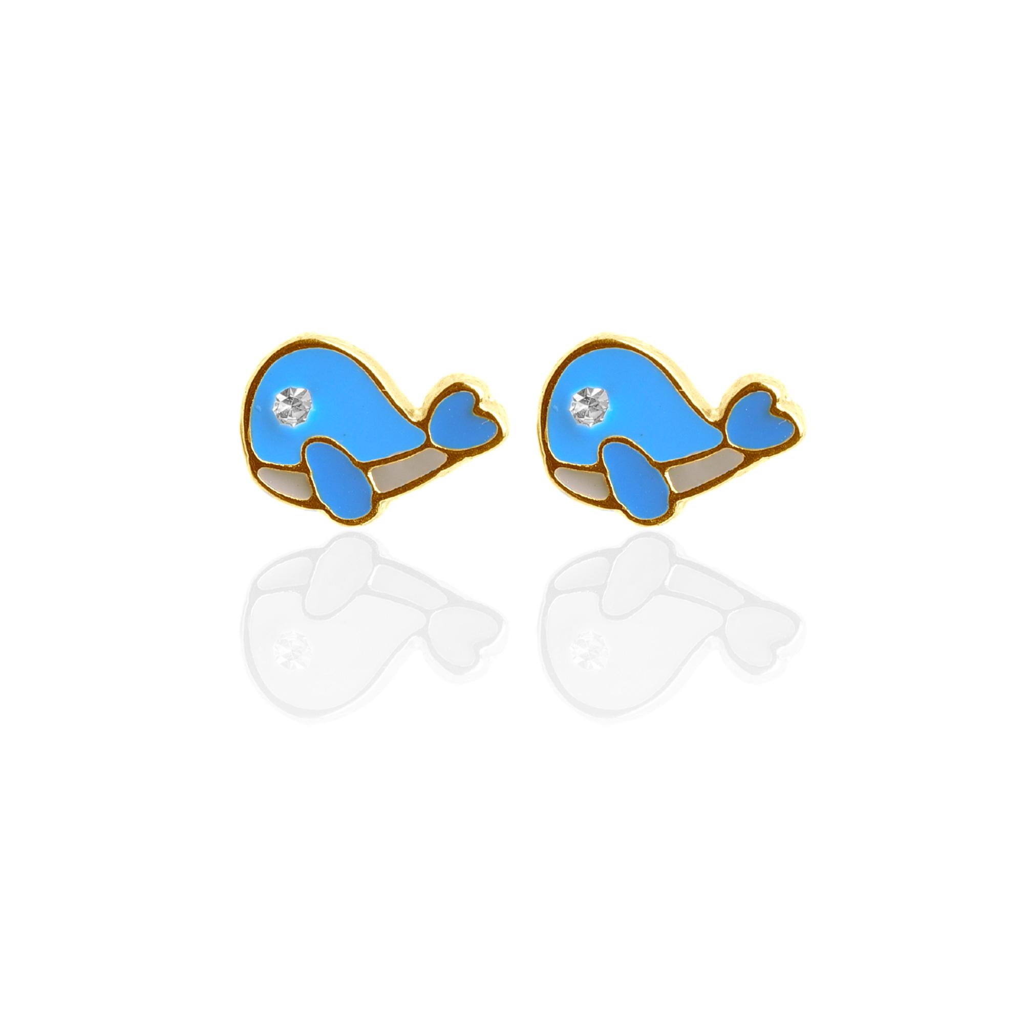 Brinco Infantil Esmaltado Baleinha Banhado a Ouro 18K.