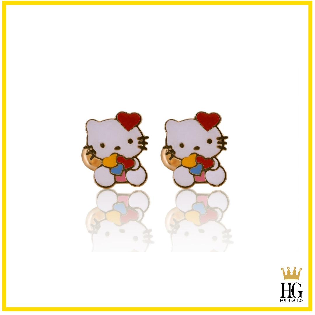 Brinco Infantil Hello Kitty Esmaltado Banhado a Ouro 18K.