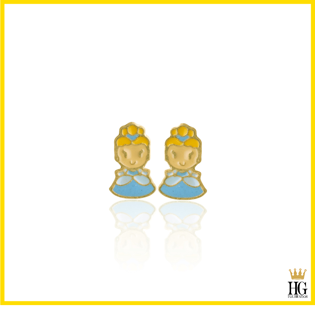 Brinco Infantil Princesa Esmaltado Banhado a Ouro 18K.