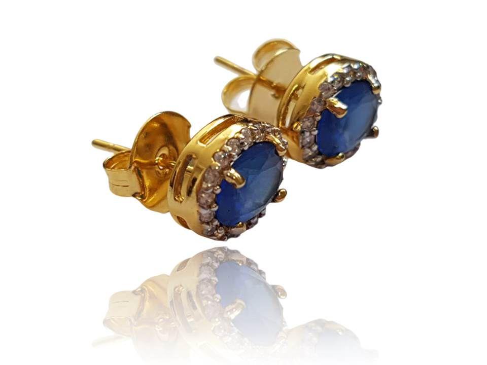 Brinco Princesa Dourado com Pedra Azul