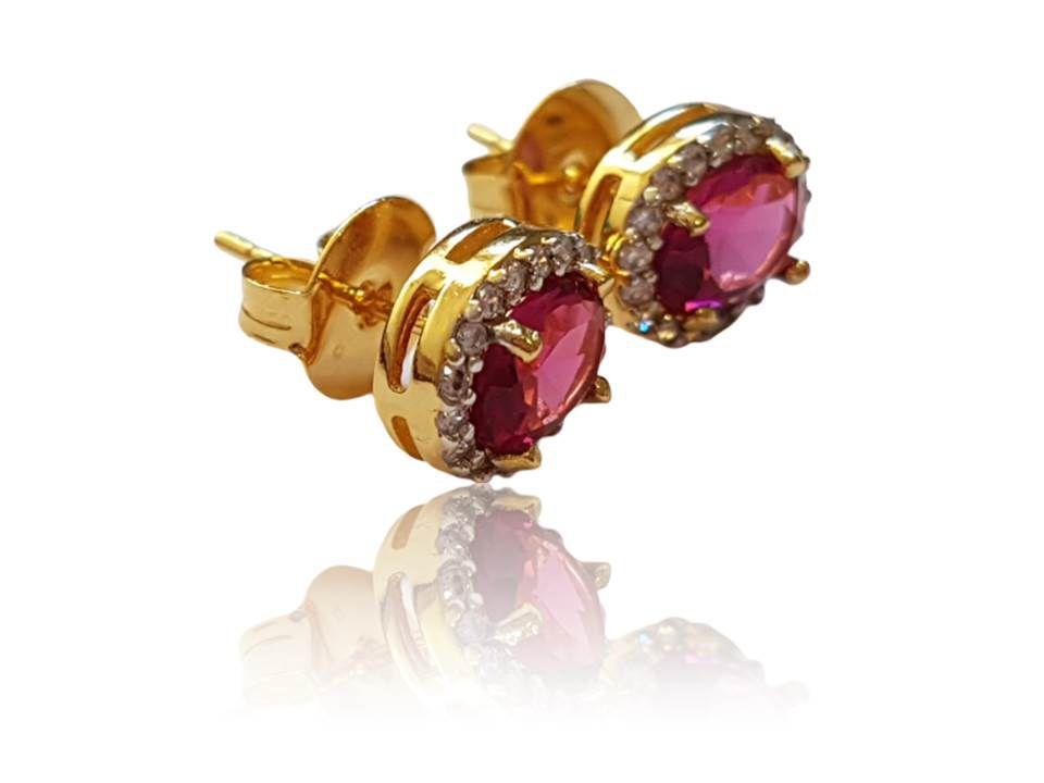 Brinco Princesa Dourado com Pedra Rosa