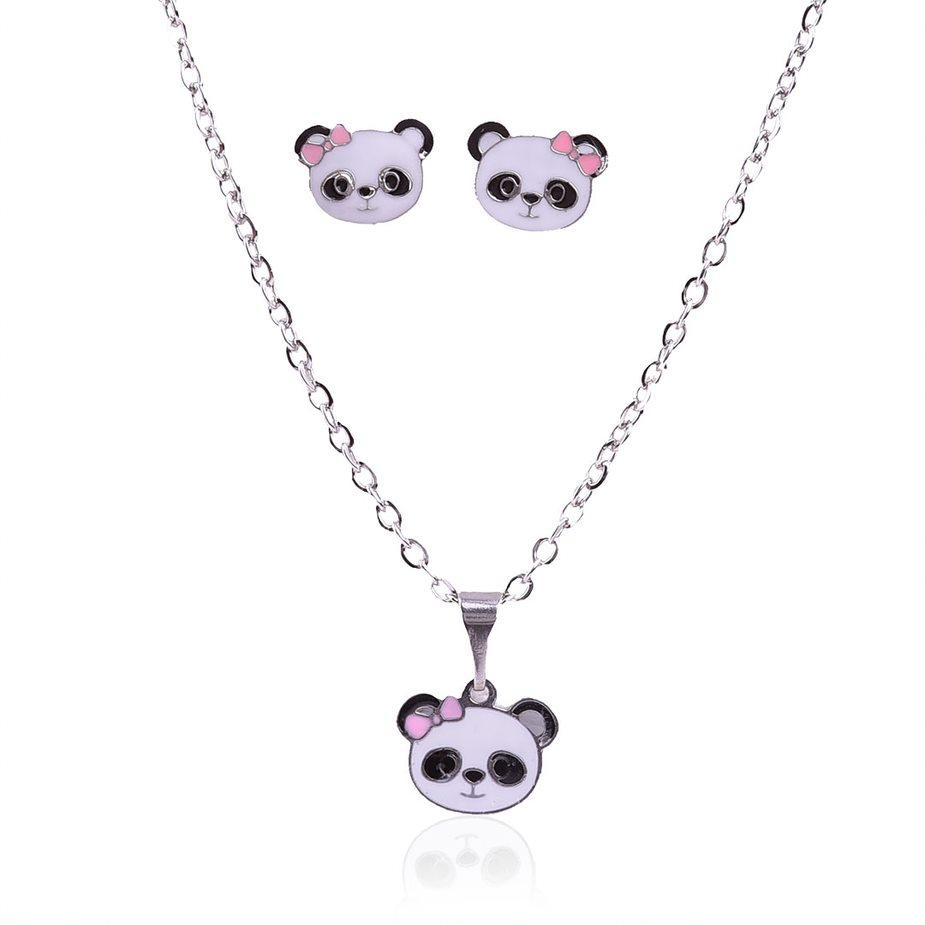 Conjunto Colar e Pingente Aço Inox Panda.