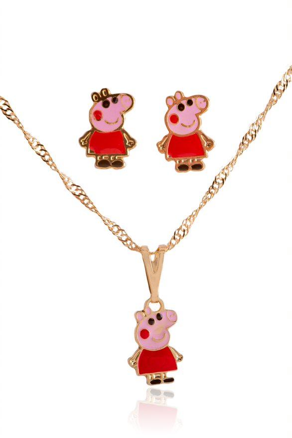Conjunto Infantil Esmaltado Colar E Brinco Peppa Pig