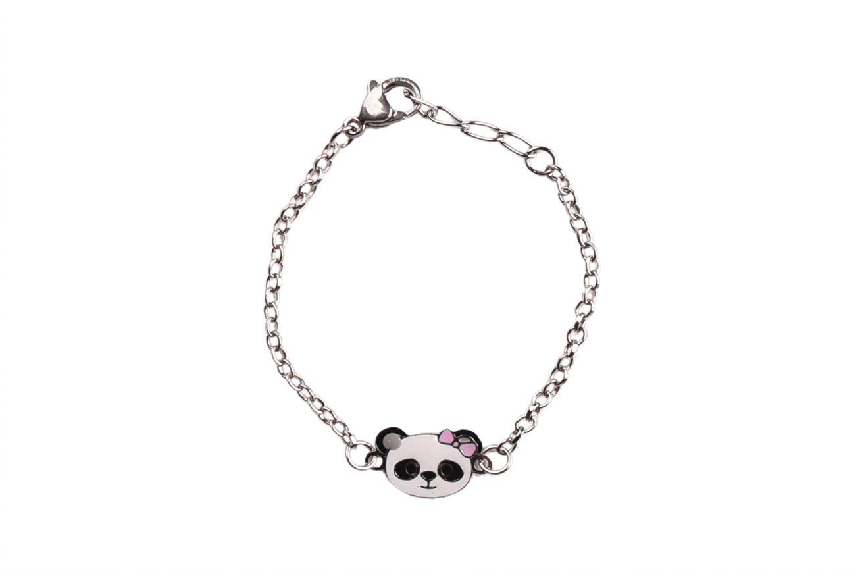 Pulseira Infantil com Ursinho Panda Esmaltado Aço Inox