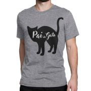 Camiseta Pai de Gato Cinza Miau Amor P M G