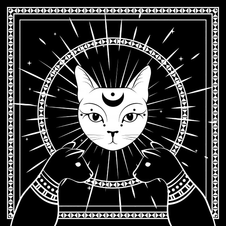 Almofada Personalizada Gato Místico Luna Preto