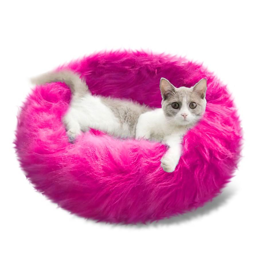 Cama Puff de Pelúcia para Gatos e Cães Redonda Cores Variadas 50cm