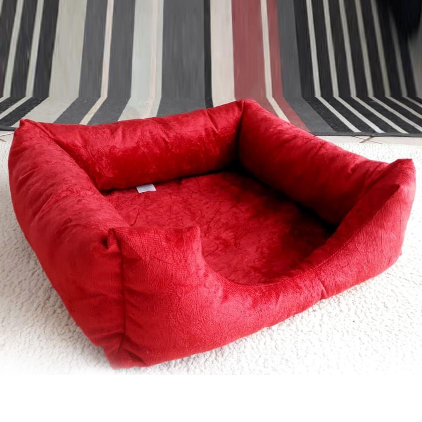 Cama Para Cães Modelo Yorkshire em Tecido Premium Suede Vermelho 50cm