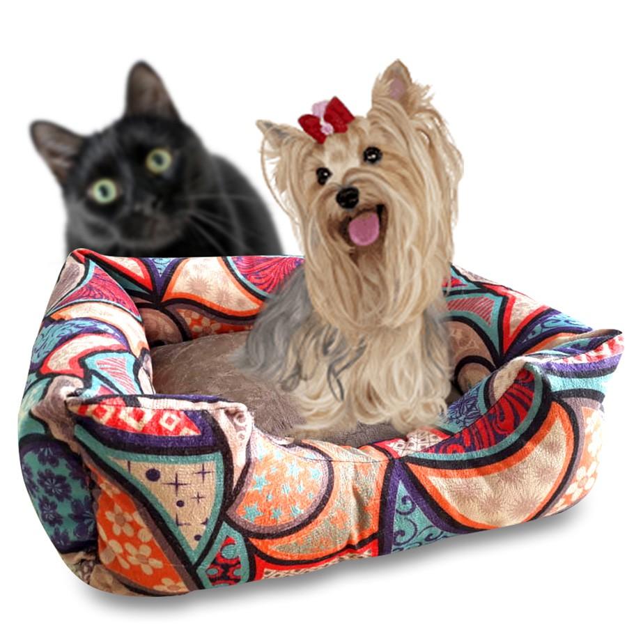 Cama Para Gatos e Cães Premium Suede Estampado Cameb 50cm