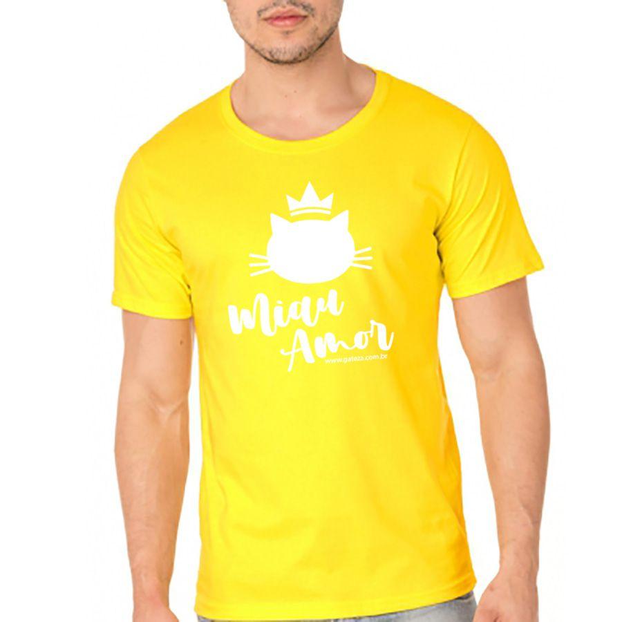 Camiseta Básica Unisex Miau Amor Gateza Todos os Tamanhos