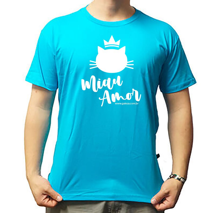 Camiseta Básica Gato Miau Amor Baby Look Azul PMG