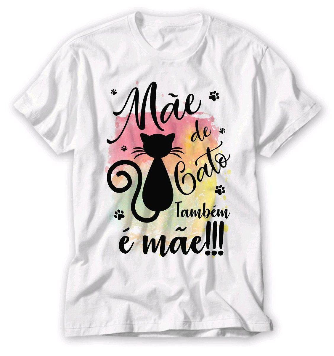 Camiseta Branca Mãe de Gato Baby Look P M G