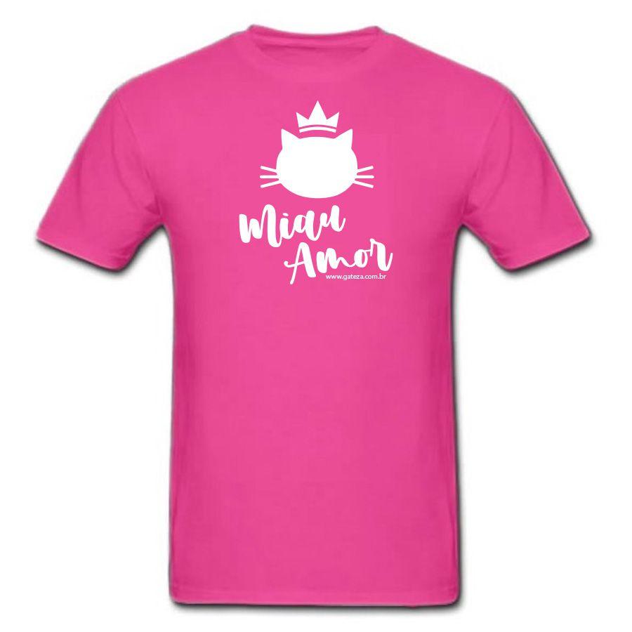Camiseta Básica Pink Miau Amor Gato Baby Look P M G