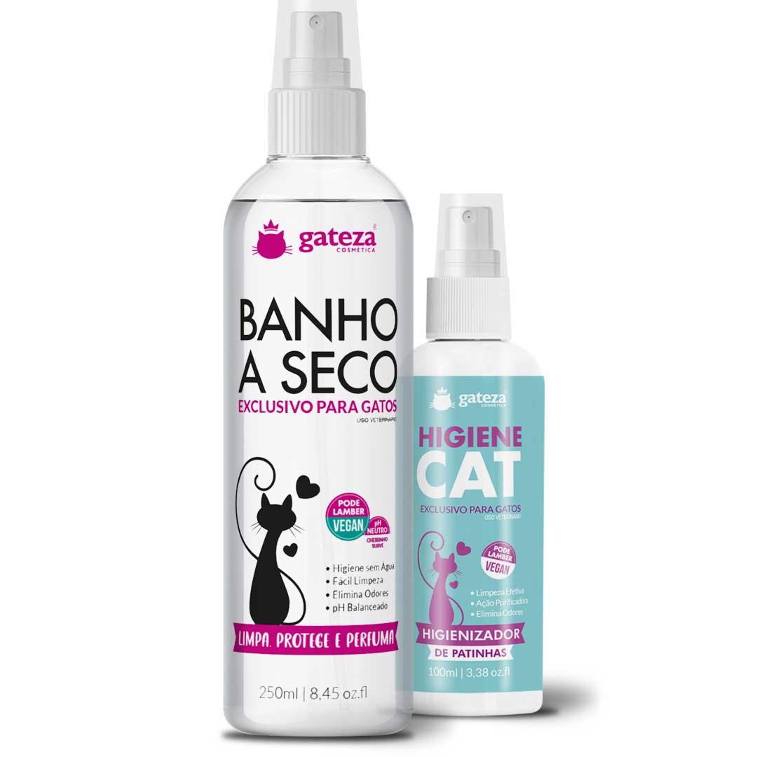 Kit Banho A Seco e Higienizador para Gatos Gateza Cosmética