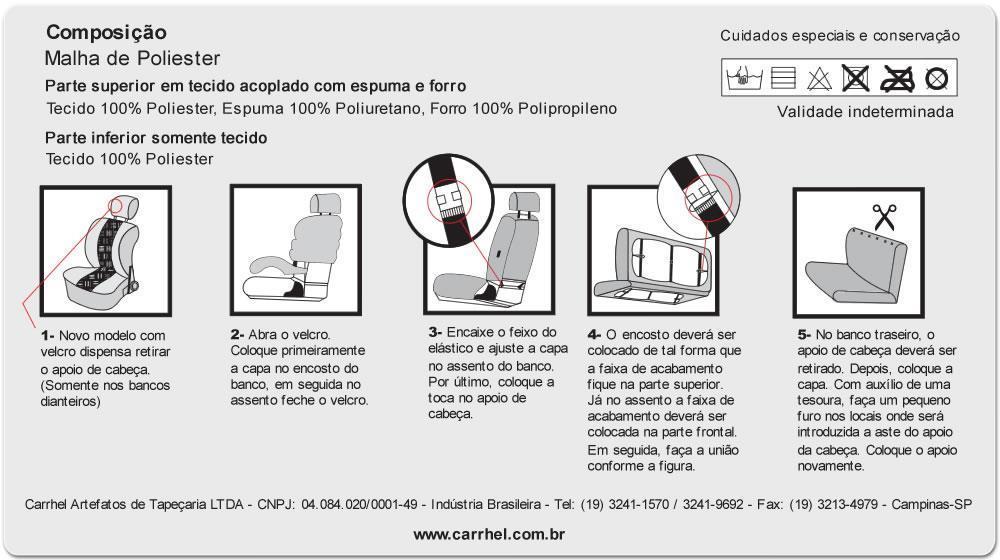 CAPA BANCO BAIXO - TECIDO ORIGINAL - ESTAMPADO - CINZA - 4 TOUCAS