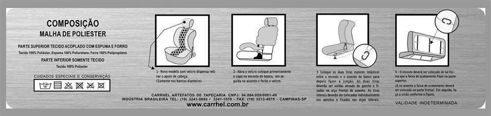 CAPA MALHA - BANCO BAIXO - 2 TOCAS PARA ENCOSTO DE CABEÇA - MARROM - LISA