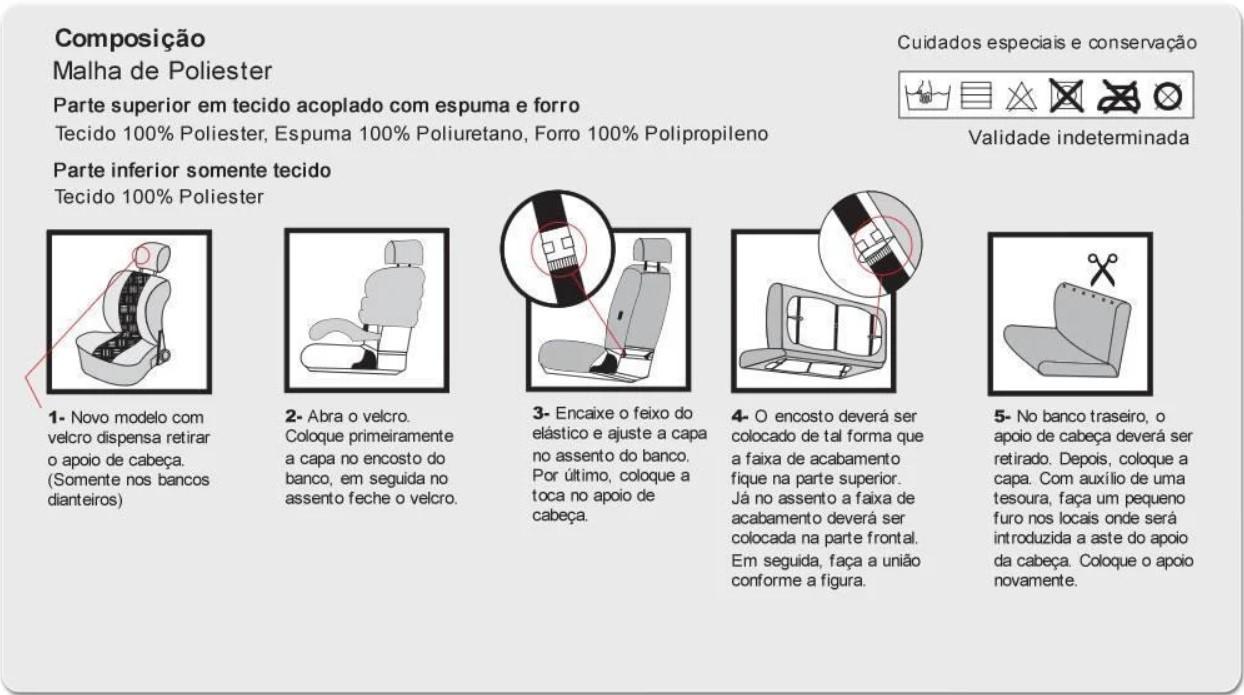 CAPA MALHA CINZA - BANCO BAIXO - ESTAMPADA - 3 LUGARES - C/ 3 TOCAS PARA ENCOSTO DE CABEÇA