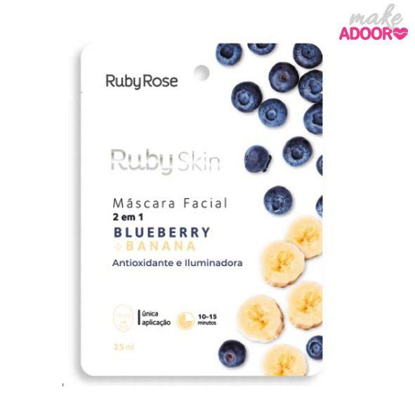Máscara Facial de Tecido Blueberry e Banana Ruby Rose