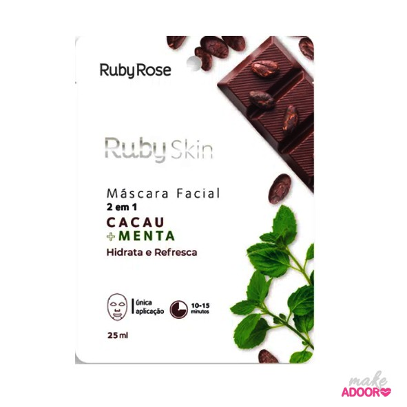 Máscara Facial de Tecido Cacau+Menta Ruby Rose